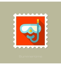 Diving Mask flat stamp with long shadow vector image