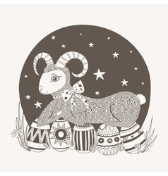Easter lamb on a background of the vector