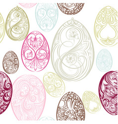 Easter seamless pattern with eggs from swirls vector