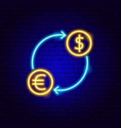euro dollar exchange neon sign vector image