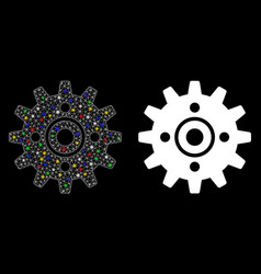 Flare mesh wire frame cogwheel icon with flare vector