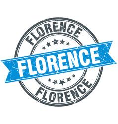 Florence blue round grunge vintage ribbon stamp vector