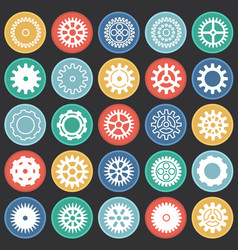 gear icons set on color circles black background vector image