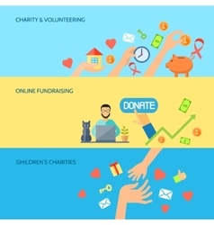 Giving hands horizontal flat banners set vector