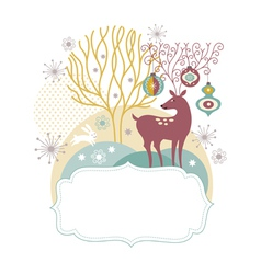 Greeting card Christmas deer vector image