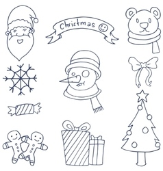 Hand draw christmas set doodles vector image