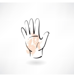 hand palm grunge icon vector image