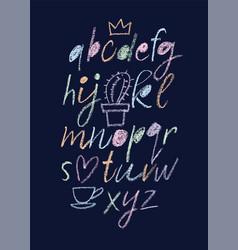 Handwritten font script latin calligraphic set vector