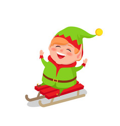 Happy elf riding on sleigh isolated white vector