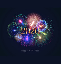 Happy new year 2020 greeting card with fireworks vector