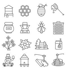 Honey Line Icons set vector