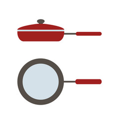 icon of lid pan side view and view from vector image