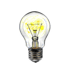 incandescent light bulb glowing from a splash of vector image