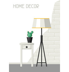 Interior home decor lamp and table with cactus vector
