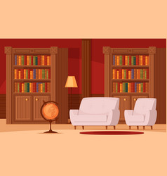 Library interior flat vector