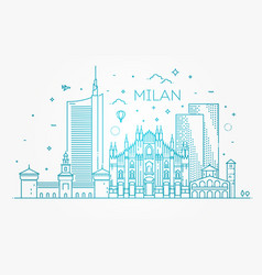 Linear banner of milan city vector