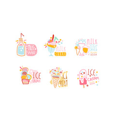 Milkshake and ice-cream labels original design vector