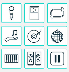 multimedia icons set with mike loudspeakers vector image