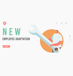 New employee adaptation landing page template vector