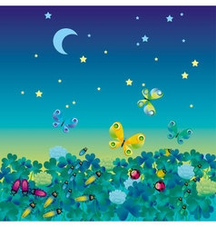 Night medow with bugs vector