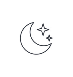night moon and star thin line icon linear vector image