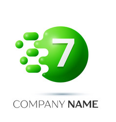 Number seven splash logo green dots and bubbles vector
