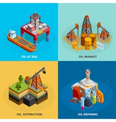 Oil industry isometric 4 icons square vector