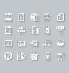 Online shop simple paper cut icons set vector