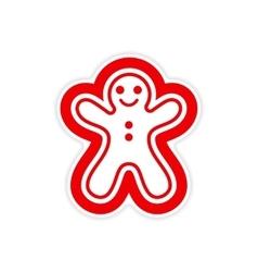 Paper sticker on white background Christmas cake vector