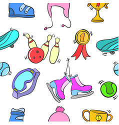 pattern of sport equipment style vector image