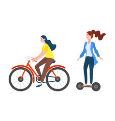 People on bicycle and segway sporty woman vector