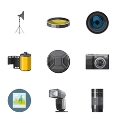 Photographing icons set cartoon style vector