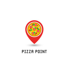 pizza logo pointer pin location pizzeria fastfood vector image