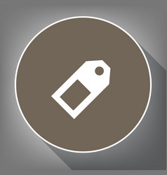price tag sign white icon on brown circle vector image
