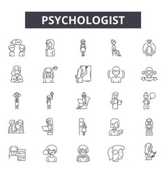 Psychologist line icons signs set vector