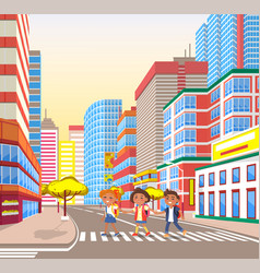 Pupils walking in city crossing road town vector