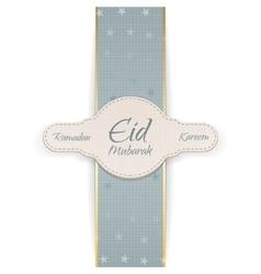 Ramadan Kareem Eid Mubarak paper Badge vector