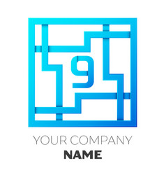 Realistic number nine logo in colorful square maze vector