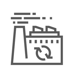 recycling plant trash garbage line icon vector image