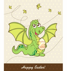 retro easter card with dragon vector image