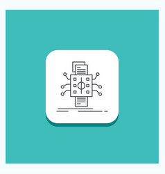 round button for analysis data datum processing vector image