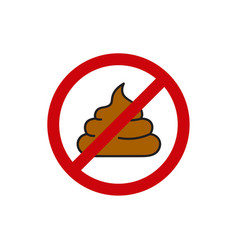 round sign prohibiting shit vector image