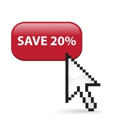Save 20 Button Click vector