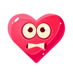 scared emoji pink heart emotional facial vector image