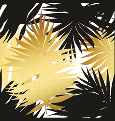 Seamless pattern with tropical and golden leaves vector