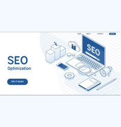 seo optimization web page templateflat vector image