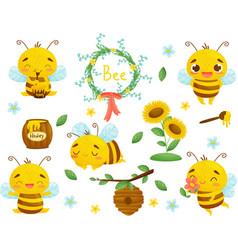Set bee honey and other beekeeping vector