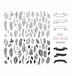set hand drawn floral design elements vector image