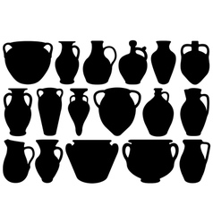 Set of different clay pottery vector