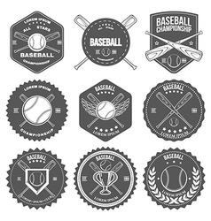 Set of vintage baseball labels and badges vector